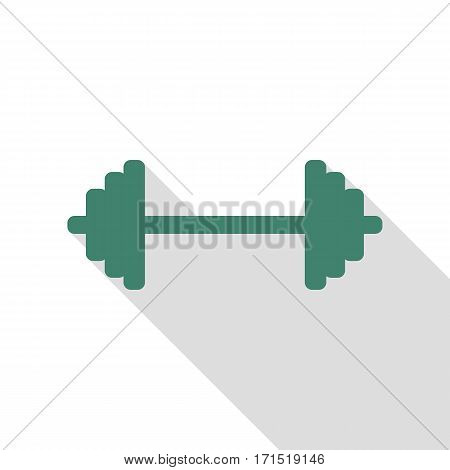Dumbbell weights sign. Veridian icon with flat style shadow path.
