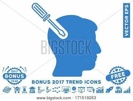 Cobalt Head Surgery Screwdriver pictogram with bonus 2017 trend design elements. Vector illustration style is flat iconic symbols white background.