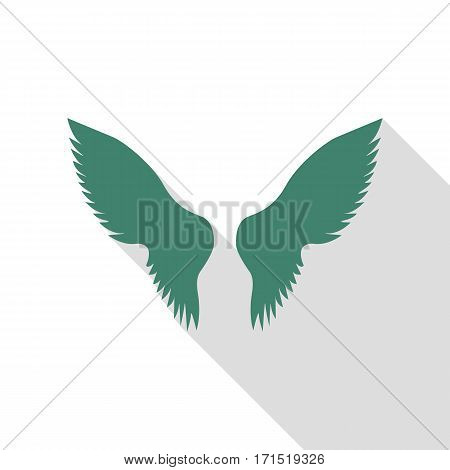 Wings sign illustration. Veridian icon with flat style shadow path.