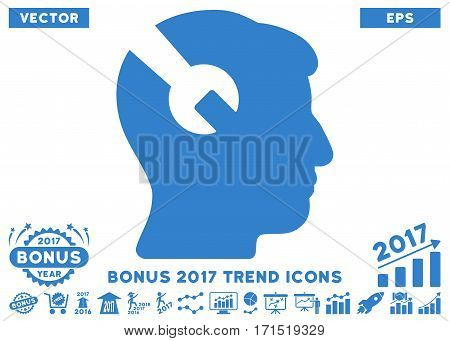 Cobalt Head Surgery Wrench icon with bonus 2017 trend clip art. Vector illustration style is flat iconic symbols white background.