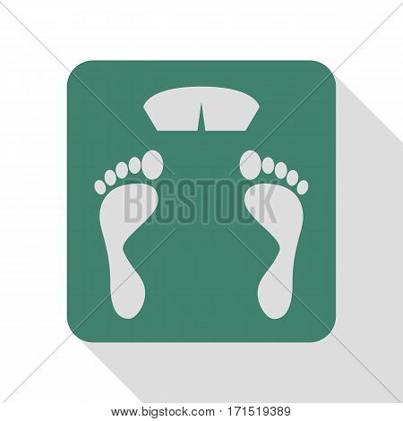 Bathroom scale sign. Veridian icon with flat style shadow path.