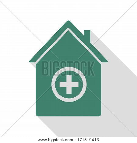 Hospital sign illustration. Veridian icon with flat style shadow path.