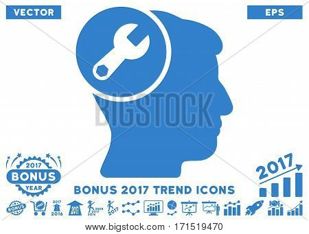 Cobalt Head Wrench Repair pictogram with bonus 2017 year trend pictures. Vector illustration style is flat iconic symbols white background.