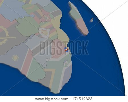 Swaziland With Flag On Globe