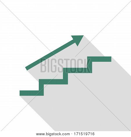 Stair with arrow. Veridian icon with flat style shadow path.
