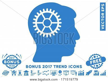 Cobalt Intellect Cog icon with bonus 2017 year trend pictograms. Vector illustration style is flat iconic symbols white background.