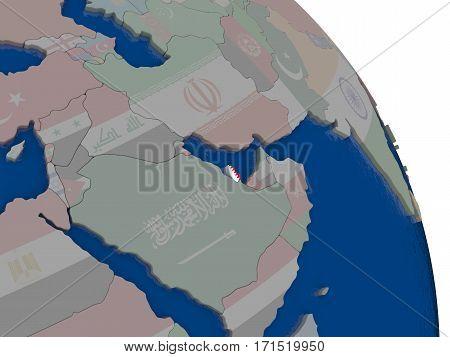 Qatar With Flag On Globe
