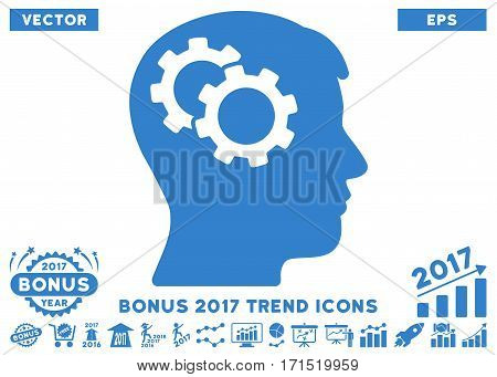 Cobalt Intellect Gears pictogram with bonus 2017 year trend clip art. Vector illustration style is flat iconic symbols white background.