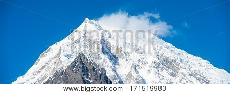 Langtang Lirung Mountain Peak Closeup Panorama H