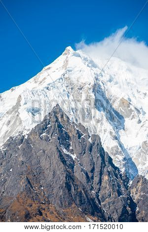 Langtang Lirung Mountain Peak Closeup Panorama V