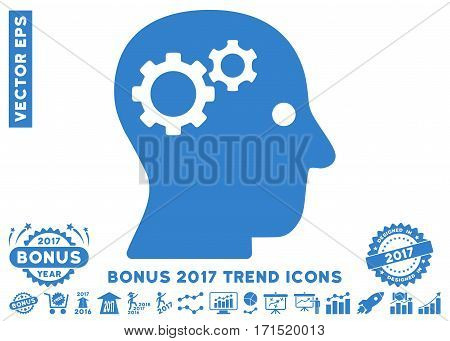 Cobalt Intellect Gears pictograph with bonus 2017 trend design elements. Vector illustration style is flat iconic symbols white background.
