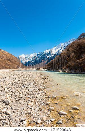 Langtang Valley Himalayan Mountain Range River V