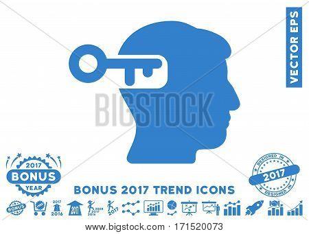 Cobalt Intellect Key icon with bonus 2017 year trend icon set. Vector illustration style is flat iconic symbols white background.