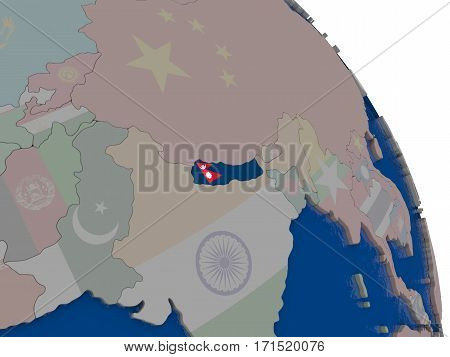 Nepal With Flag On Globe
