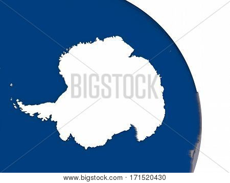 Antarctica With Flag On Globe