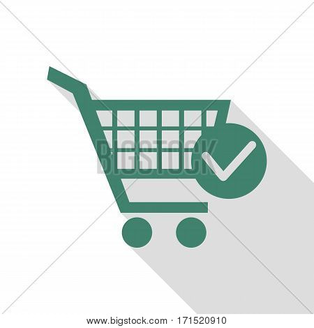 Shopping Cart with Check Mark sign. Veridian icon with flat style shadow path.