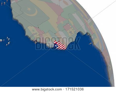 Liberia With Flag On Globe