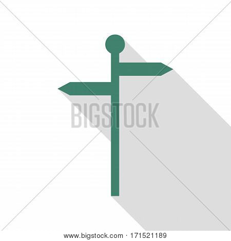 Direction road sign. Veridian icon with flat style shadow path.