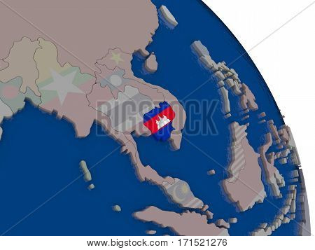 Cambodia With Flag On Globe