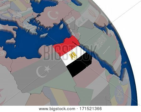 Egypt With Flag On Globe