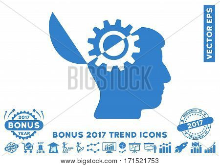 Cobalt Open Mind Gear pictograph with bonus 2017 year trend pictures. Vector illustration style is flat iconic symbols white background.