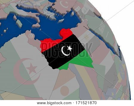 Libya With Flag On Globe