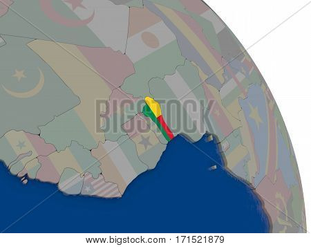 Benin With Flag On Globe