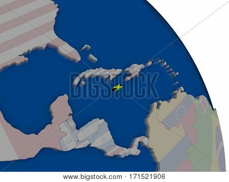Jamaica With Flag On Globe