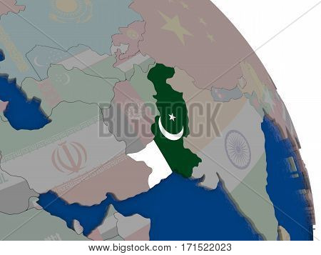 Pakistan With Flag On Globe