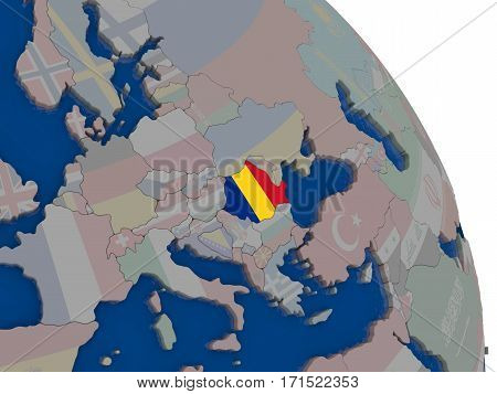 Romania With Flag On Globe
