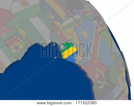 Gabon With Flag On Globe