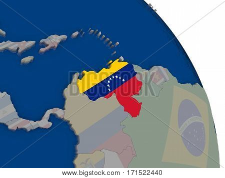 Venezuela With Flag On Globe