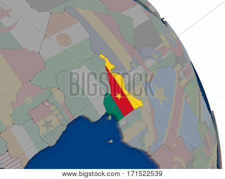 Cameroon With Flag On Globe