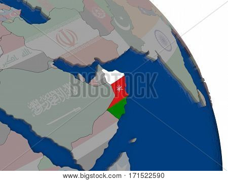 Oman With Flag On Globe