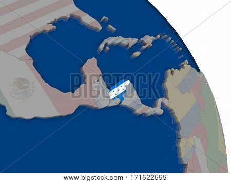 Honduras With Flag On Globe