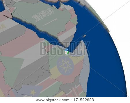 Djibouti With Flag On Globe