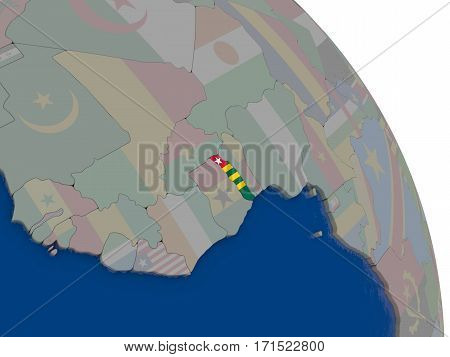 Togo With Flag On Globe