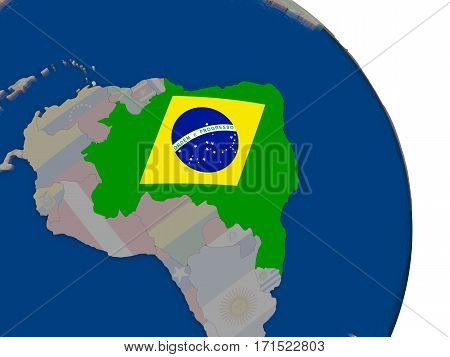 Brazil With Flag On Globe