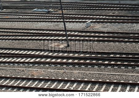 View of railroad tracks. Industry background abstract