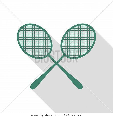 Tennis racquets sign. Veridian icon with flat style shadow path.