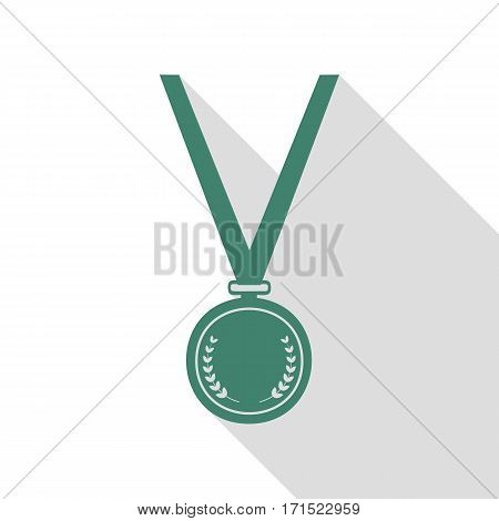 Medal simple sign. Veridian icon with flat style shadow path.