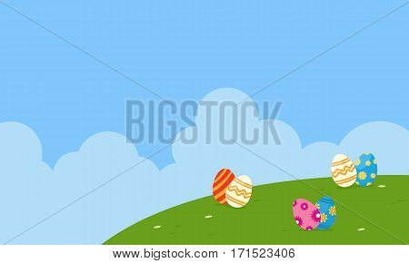Landscape of easter theme vector flat collection stock