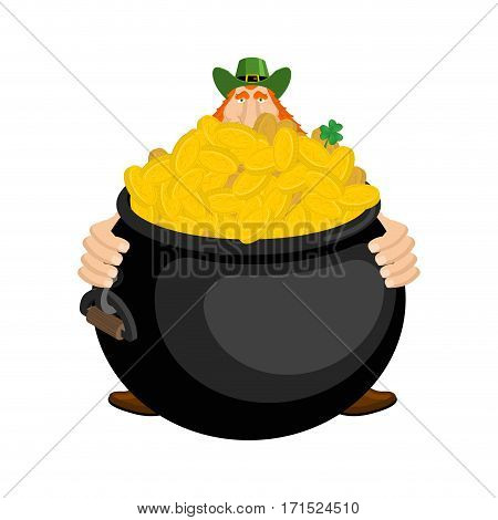 St.patricks Day. Leprechaun And Pot Of Gold. Magic Dwarf And Boiler Of Golden Coins. National Holida