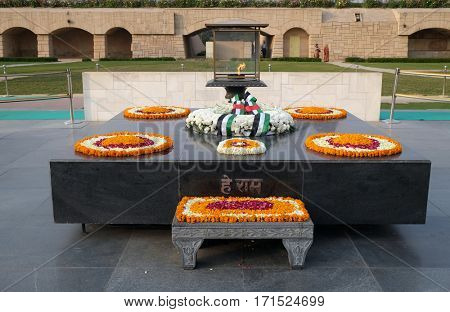 DELHI, INDIA - FEBRUARY 13: Rajghat, New Delhi. Memorial at Mahatma Gandhis body cremation place, Delhi, India on February 13, 2016.