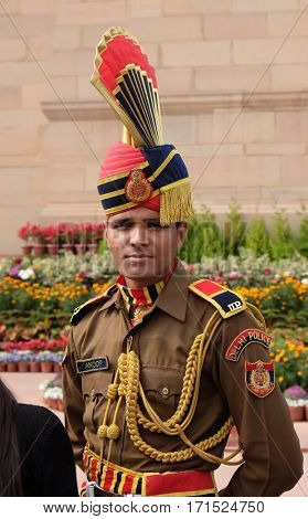 DELHI, INDIA - FEBRUARY 13: Soldier in parade uniform at The India Gate on February 13, 2016, Delhi, India.