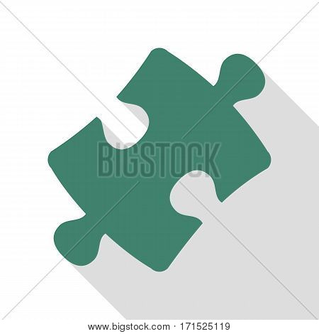 Puzzle piece sign. Veridian icon with flat style shadow path.
