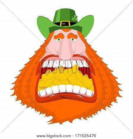 Leprechaun Gold. Crazy Dwarf For St. Patrick's Day. Golden Coins In Mouth. National Holiday In Irela