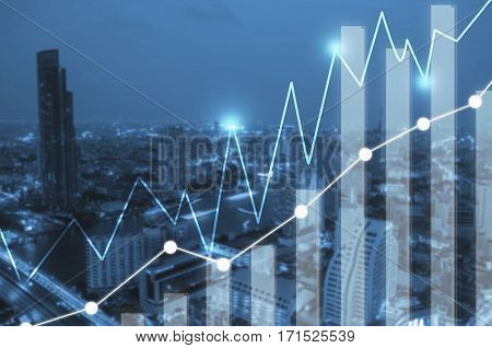 Businesses concept photo of double exposure style with building and river at metropolis in night time and business graph or chart