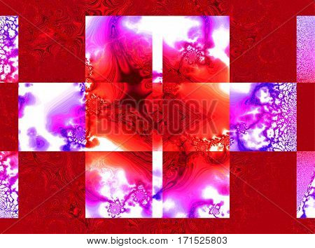 A square design with psychedelic innards in purple and red.