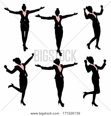 silhouette of business woman feel excited with white background